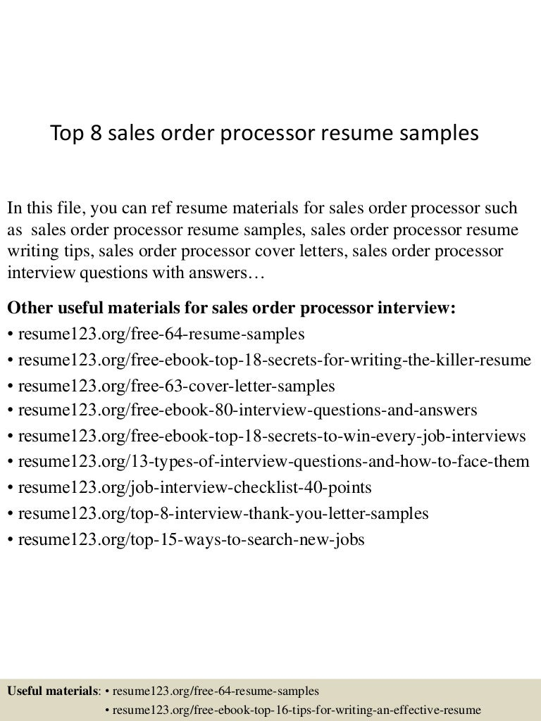 order processor sample resume sample resume for waiter top8salesorderprocessorresumesamples 150527131937 lva1 app6891 thumbnail 4 order processor - Waiter Sample Resume