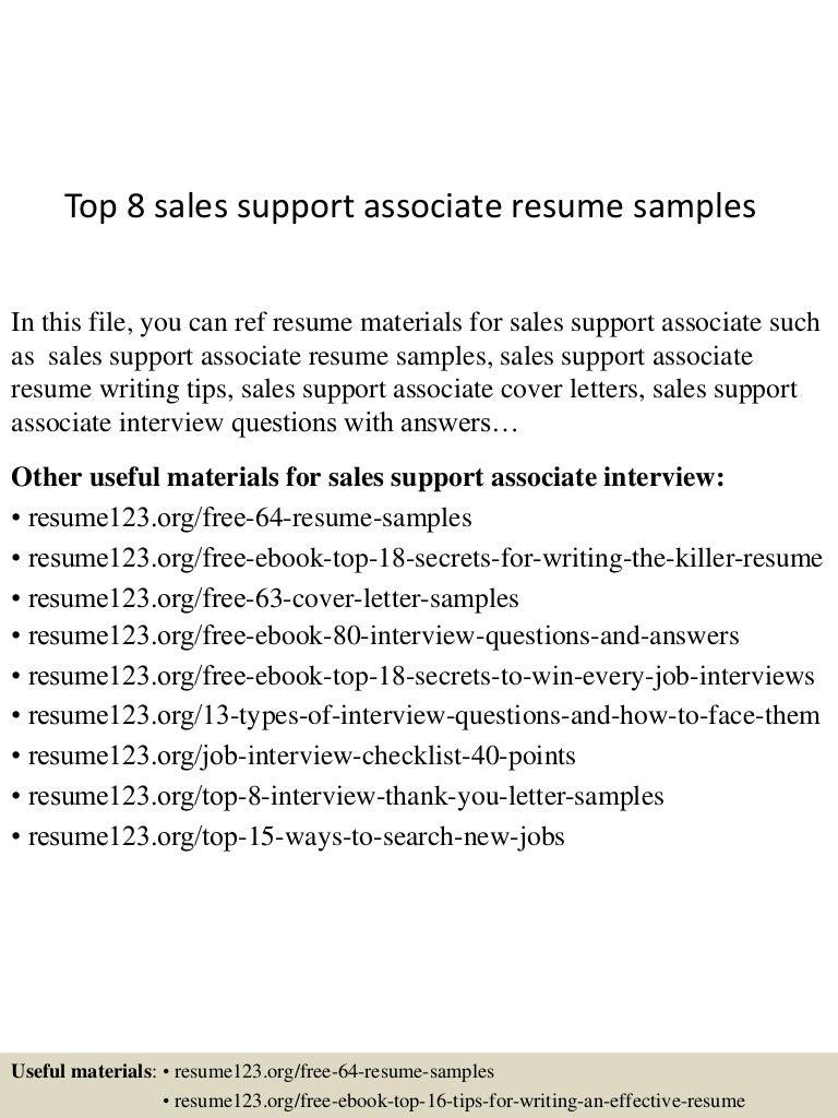Top 8 sales support associate resume samples