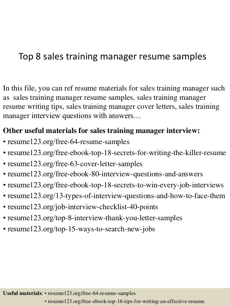 training manager resume examples