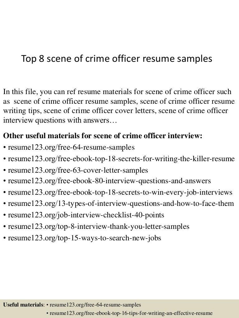 Top 8 scene of crime officer resume samples