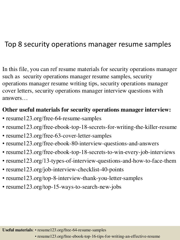 resume Security Manager Resume Samples top8securityoperationsmanagerresumesamples 150515013534 lva1 app6892 thumbnail 4 jpgcb1431653784