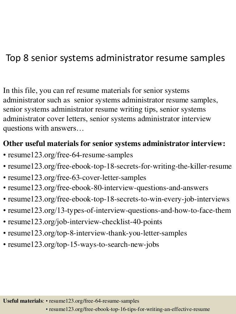 senior system administrator resume samples - Vaydile.euforic.co