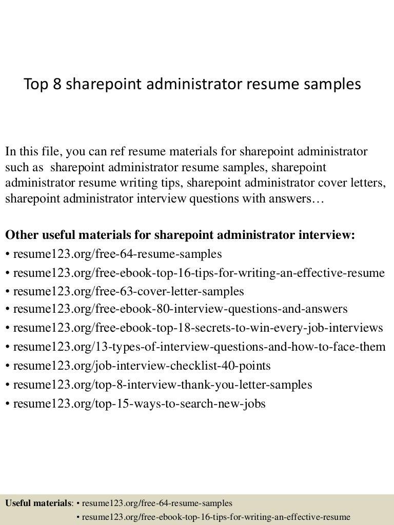 administrative resume samples topsharepointadministratorresumesamples conversion gate thumbnail - Exchange Administration Sample Resume