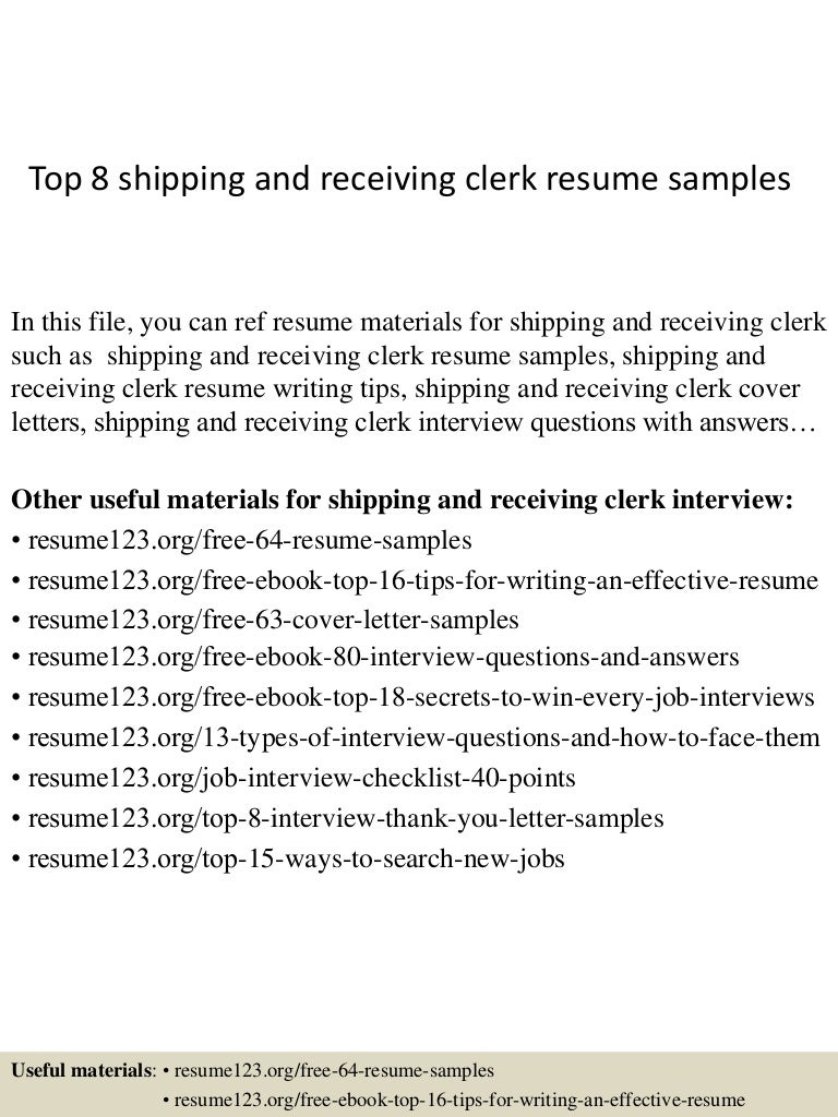 Resume Shipping And Receiving Clerk Resume top8shippingandreceivingclerkresumesamples 150404032138 conversion gate01 thumbnail 4 jpgcb1428135740