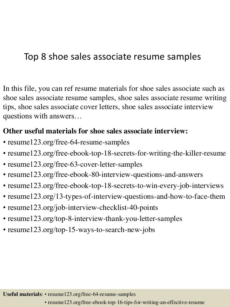 Top 8 Shoe Sales Associate Resume Samples