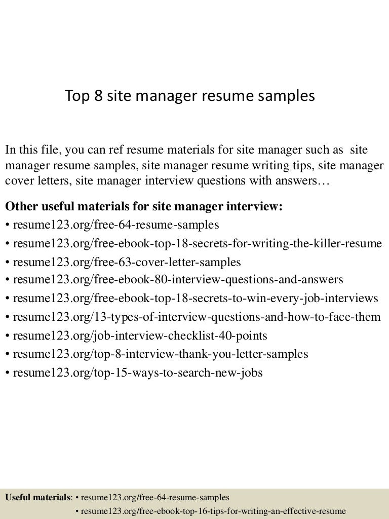 top8sitemanagerresumesamples 150426210224 conversion gate01 thumbnail 4 jpg cb 1430100186 - Free Resume Search Sites
