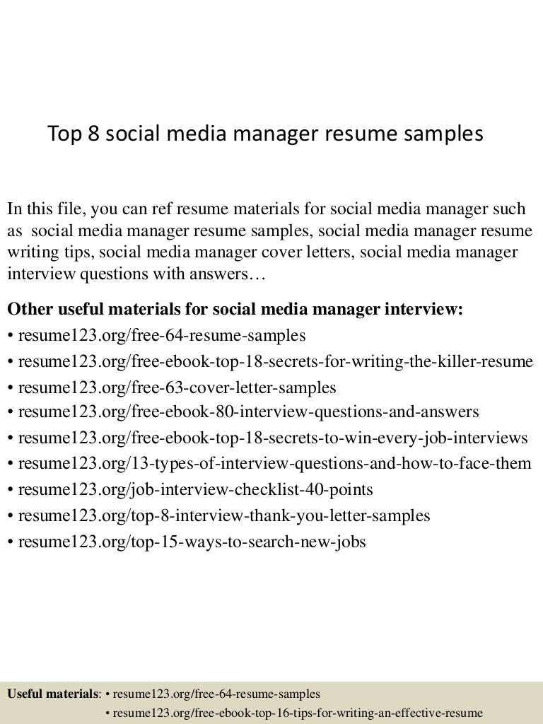 social media manager resume sample cover letter for work social media manager resume sample social media manager resume sample