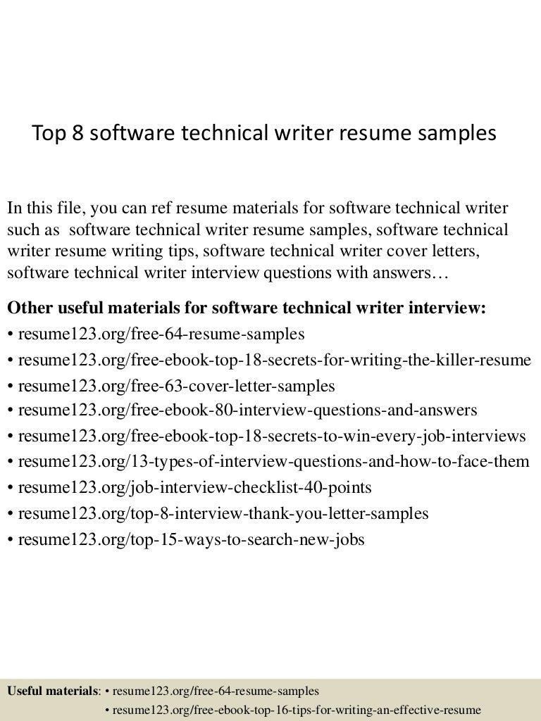 technical writer resume objective cipanewsletter top8softwaretechnicalwriterresumesamples 150606025151 lva1 app6891 thumbnail 4 jpg cb u003d1433559154 from slideshare net