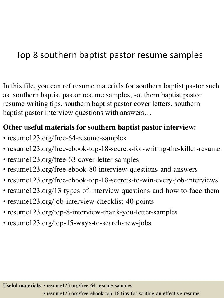 top 8 southern baptist pastor resume samples