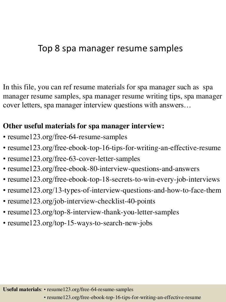 resume Resume For Spa Manager top8spamanagerresumesamples 150402080804 conversion gate01 thumbnail 4 jpgcb1427980128