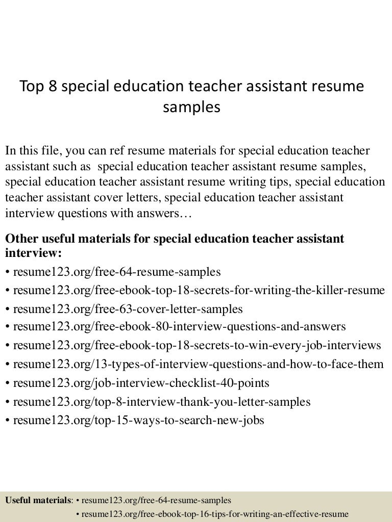 top8specialeducationteacherassistantresumesamples 150513000043 lva1 app6892 thumbnail 4jpgcb1431475287 - Sample Special Education Teacher Resume