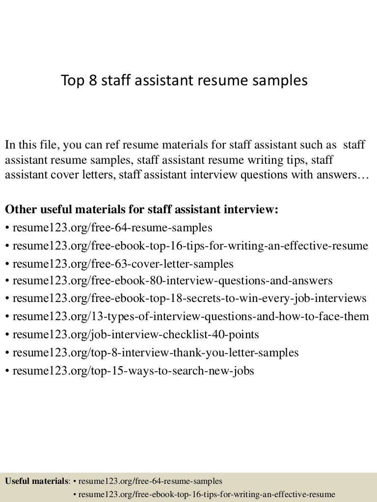 Top 8 staff assistant resume samples
