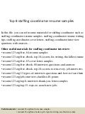 top 8 staffing coordinator resume samples - Staffing Coordinator Resume