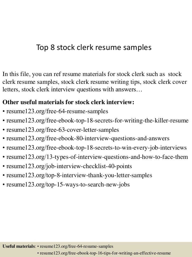 Walgreens Resume professional resume Floral Clerk Sample Resume Lost Pet Template Top8stockclerkresumesamples 150425023736 Conversion Gate02 Thumbnail 4 Floral Clerk Sample Resumehtml Walgreens
