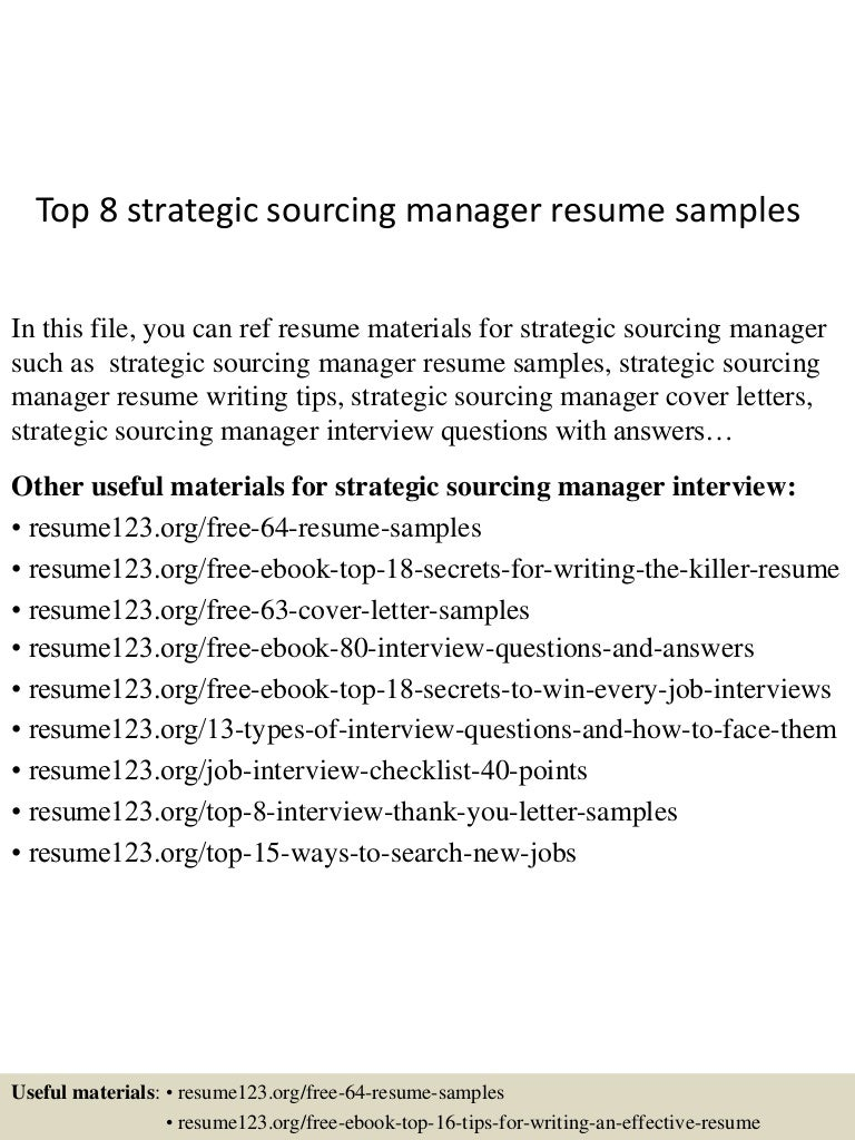 Top8strategicsourcingmanagerresumesamples 150514051003 Lva1 App6892 Thumbnail 4 Jpg Cb 1431580250