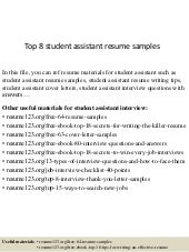 student assistant resume