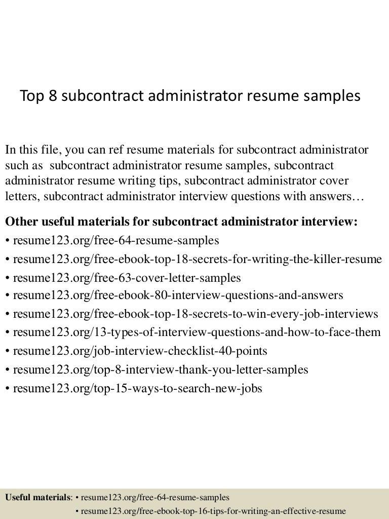 resume Subcontract Administrator Resume top8subcontractadministratorresumesamples 150529140221 lva1 app6891 thumbnail 4 jpgcb1432908469