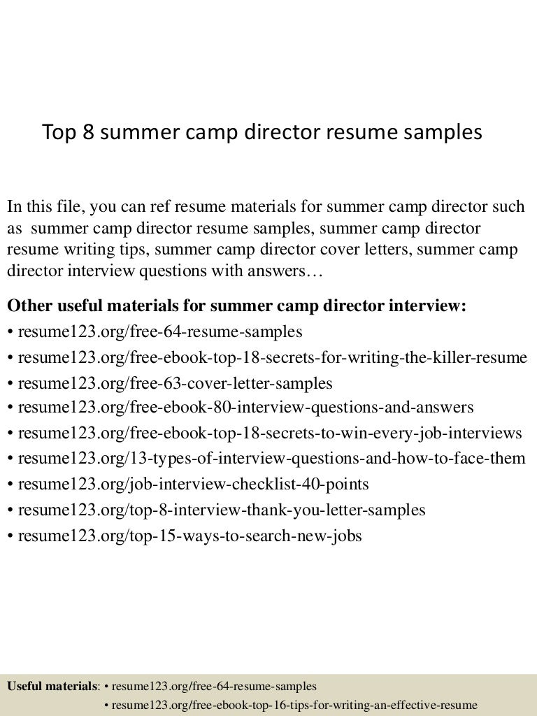 summer camp nurse sample resume resume templates for college app6891 thumbnail 4jpg cb 1431331480 top8summercampdirectorresumesamples 150511080355 lva1 app6891 thumbnail 4 top 8 summer camp director resume samples