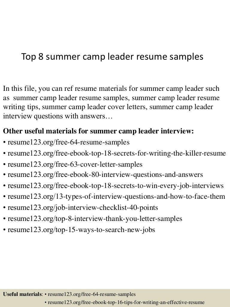 top8summercampleaderresumesamples 150601111539 lva1 app6892 thumbnail 4jpgcb1433157387. Resume Example. Resume CV Cover Letter
