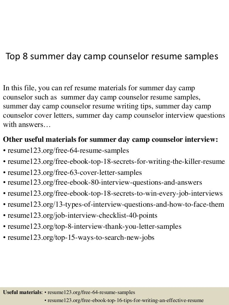 summer camp counselor cover letters