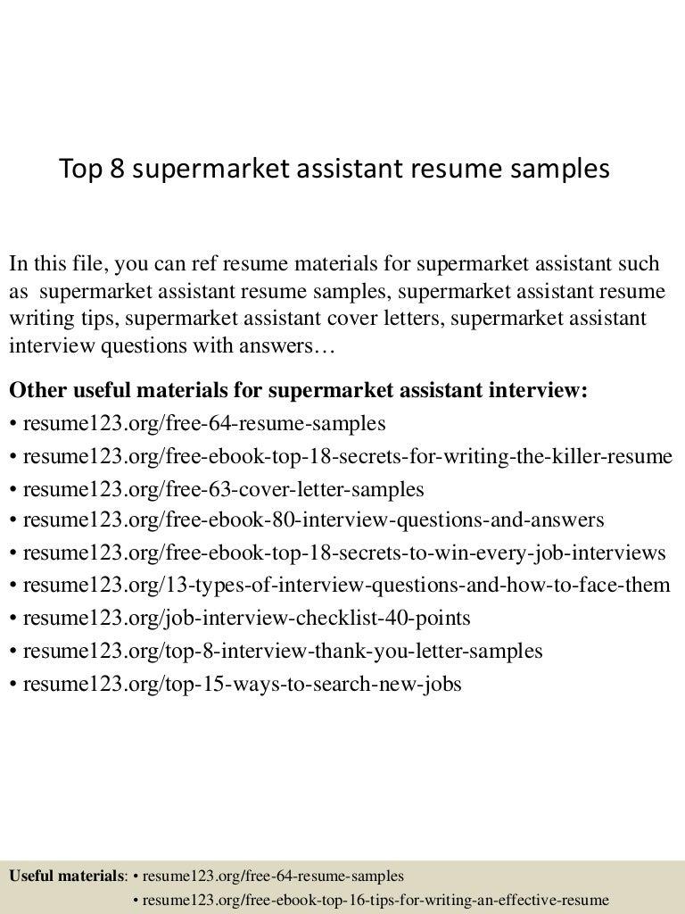 Resume For Supermarket