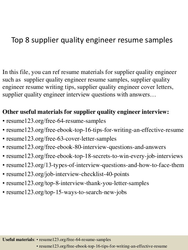 Top 8 supplier quality engineer