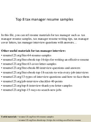Manager Resume Samples Tax