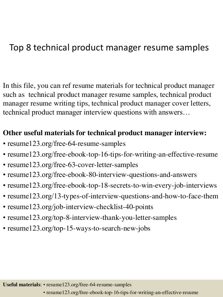 senior product manager resume samples - Sample Cover Letter Product Manager
