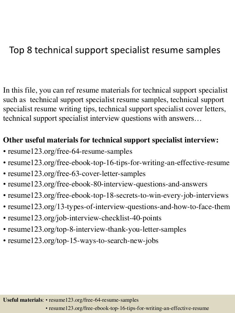Tech Support Cover Letter Sample Resume For Apartment Manager Technical Customer Top8technicalsupportspecialistresumesamples