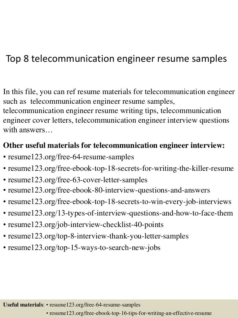 Top 8 telecommunication engineer resume samples