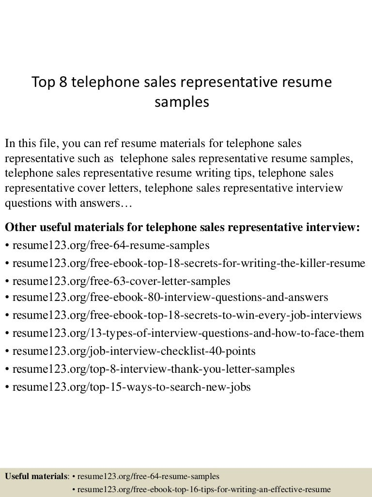 top8telephonesalesrepresentativeresumesamples 150528091559 lva1 app6892 thumbnail 4 jpg cb 1432804613