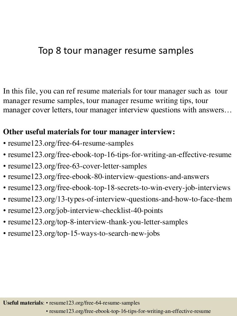 top8tourmanagerresumesamples150331210013conversiongate01thumbnail4jpgcb 1427853672 – Tour Manager Resume