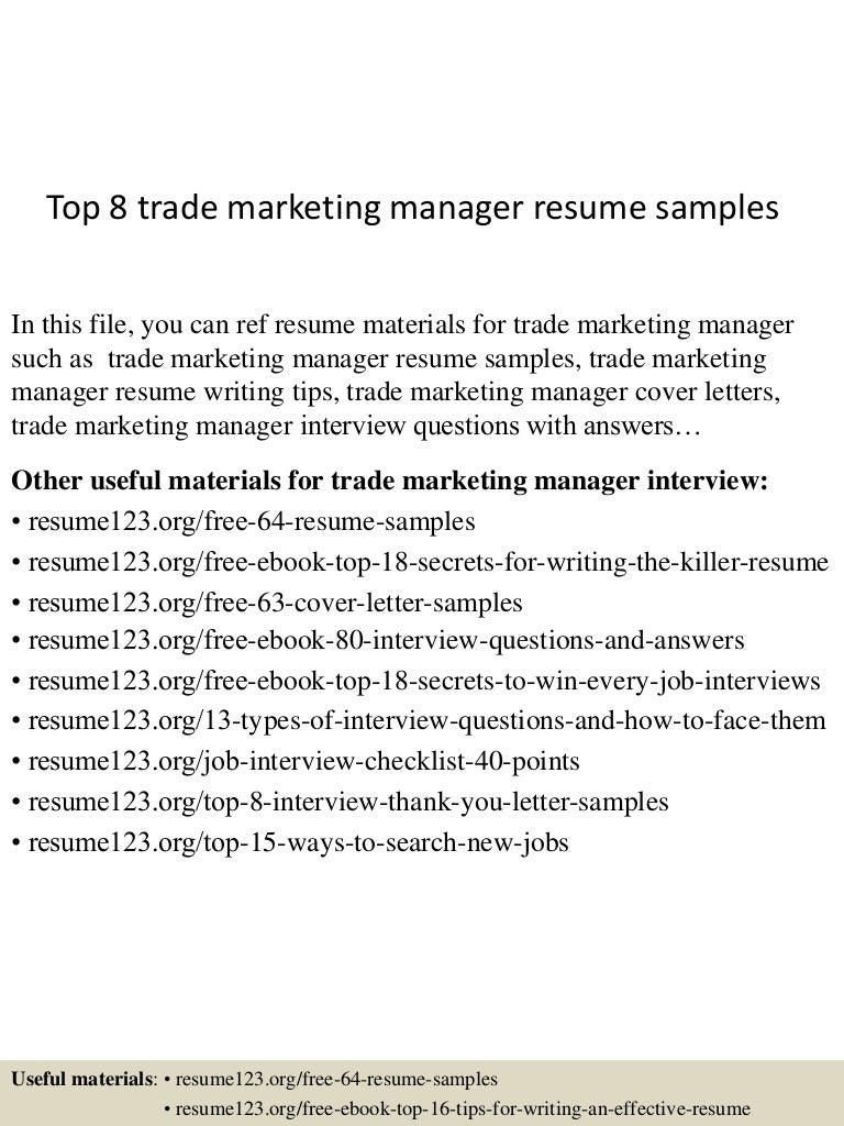 Trade Marketing Manager Cover Letter marketing communications ...