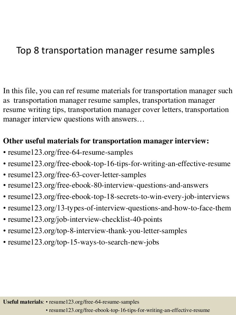 Superb SlideShare Pertaining To Transportation Manager Resume