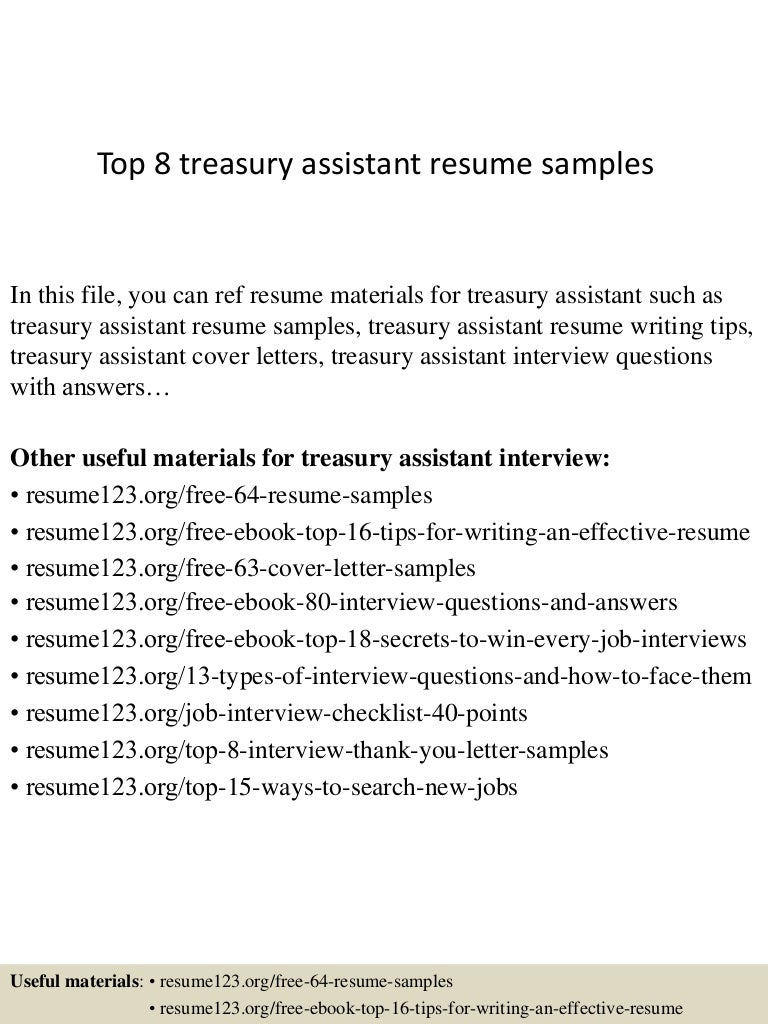 Top 8 treasury assistant resume samples