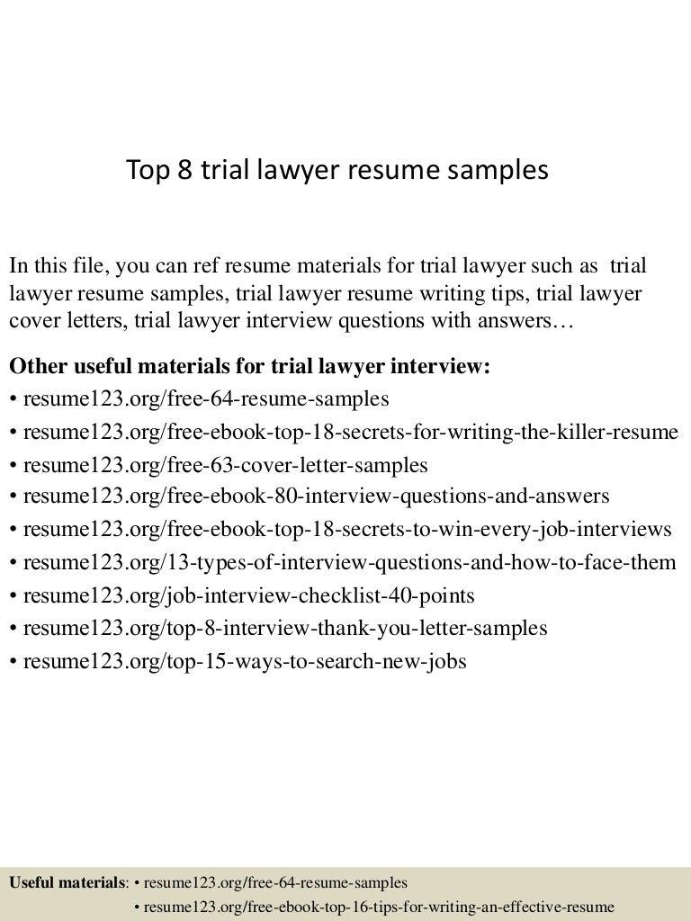 Top 8 trial lawyer resume samples