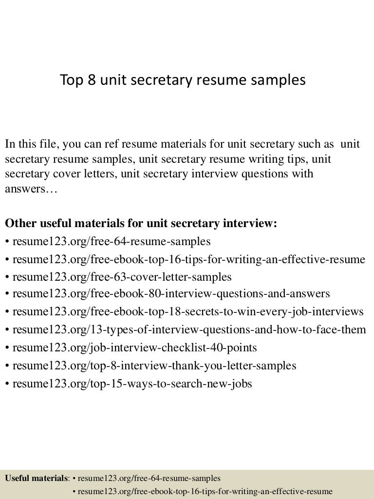 top8unitsecretaryresumesamples 150331213545 conversion gate01 thumbnail 4 jpg cb 1427855800