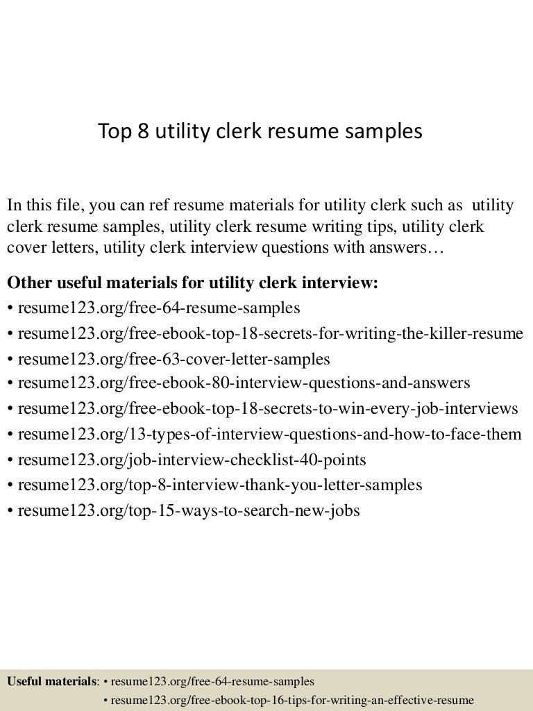 Top 8 utility clerk resume samples