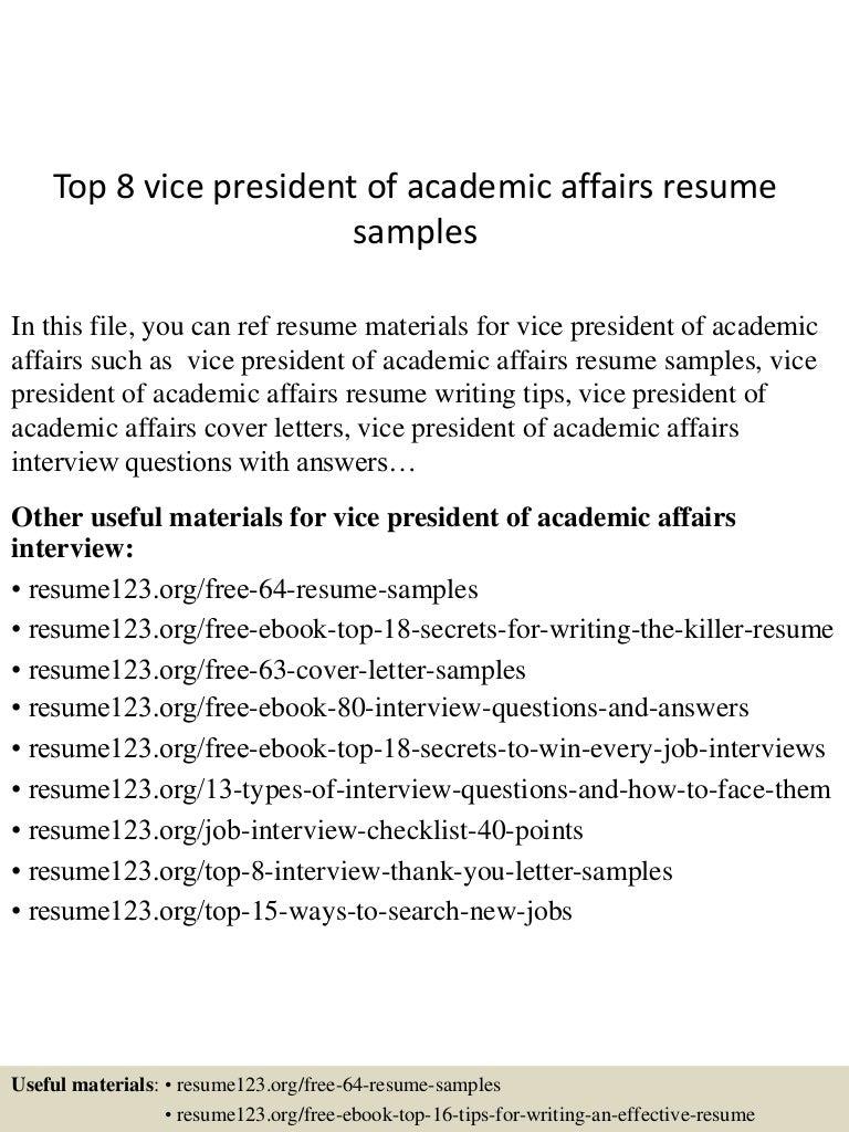 top8vicepresidentofacademicaffairsresumesamples 150527132016 lva1 app6891 thumbnail 4 jpg cb 1432734163