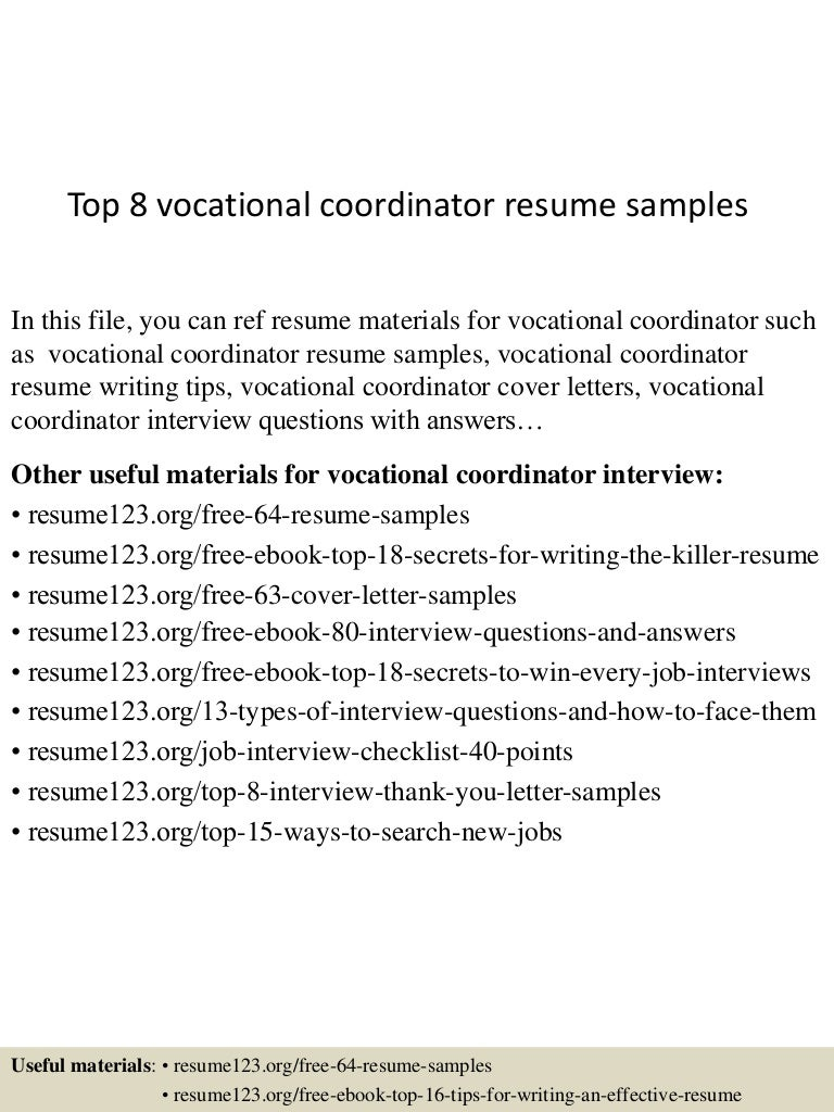 Vocational Specialist Cover Letter Caterer Sample Resumes