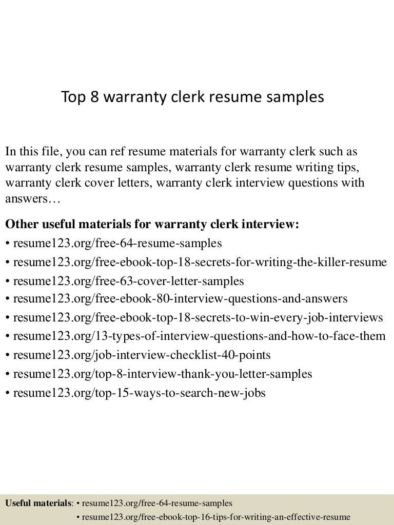 Top 8 warranty clerk resume samples