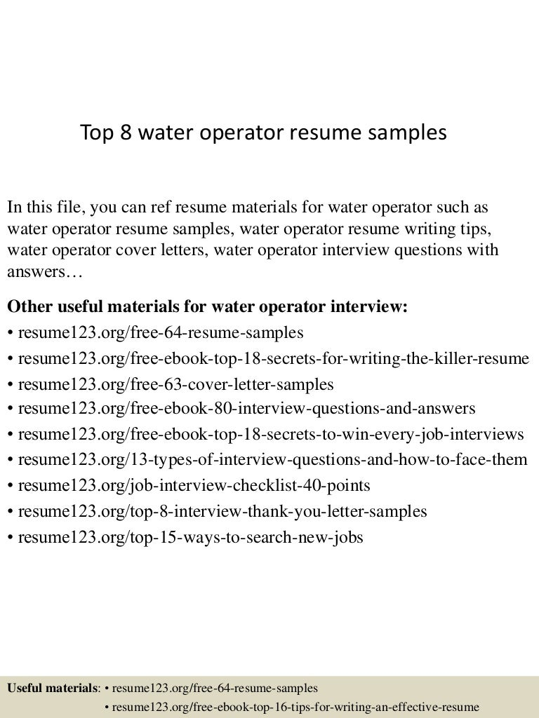 resume Wastewater Treatment Plant Operator Resume top8wateroperatorresumesamples 150602134011 lva1 app6892 thumbnail 4 jpgcb1433252469