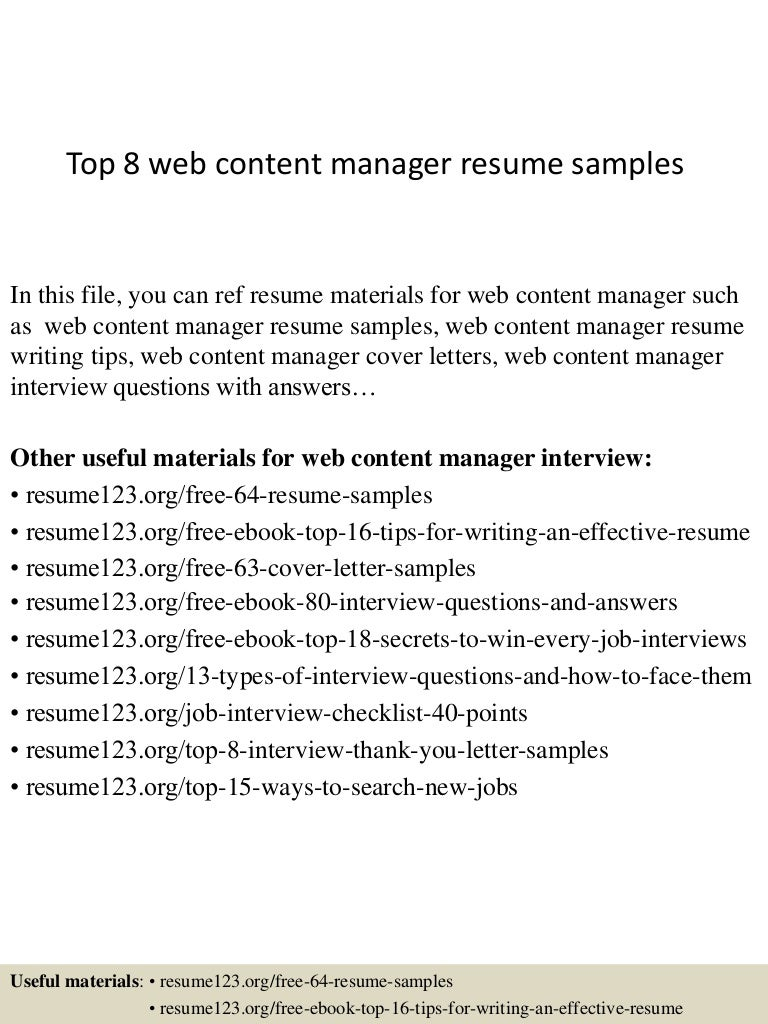 top8webcontentmanagerresumesamples 150408080023 conversion gate01 thumbnail 4 jpg cb 1428498066