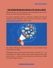 Top digital marketing metrics to track in 2018