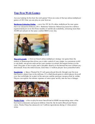 Top free web games list 2011