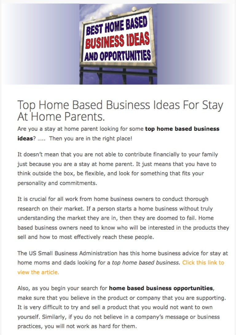 Enchanting Best Business Ideas For Stay At Home Moms Pictures - Home ...