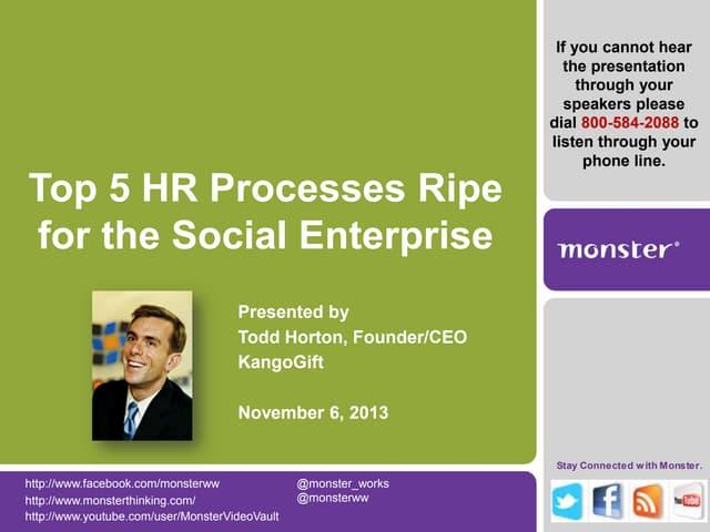 Top HR Processes Ripe for a Social Enterprise