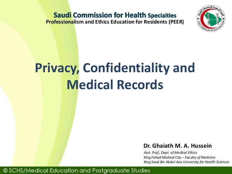 Schs Topic 5: Privacy, Confidentiality And Medical Records