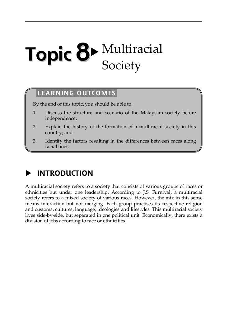 Topic 8 Multiracial Society
