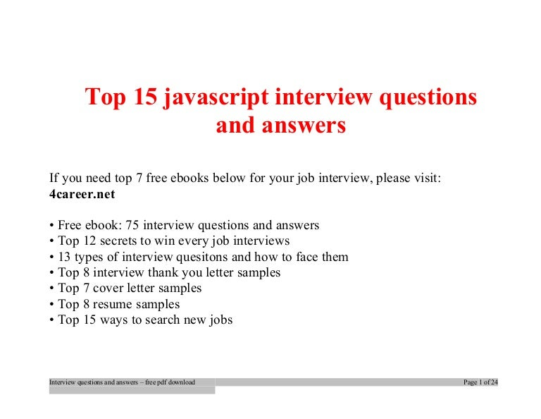 Top Javascript Interview Questions And Answers Job Interview Tips